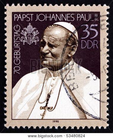 Postage Stamp Gdr 1990 Pope John Paul Ii