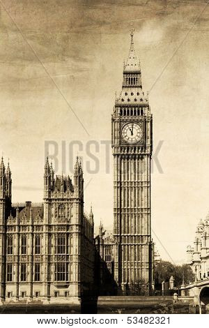 Vintage view of London, Big Ben
