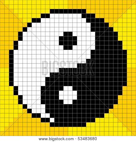 8-bit Pixel-art Yin Yang Symbol