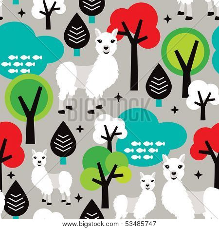 Seamless llama peru animal icon illustration background pattern for kids in vector