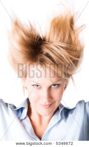 Cheerful Woman With Turn Up Hair