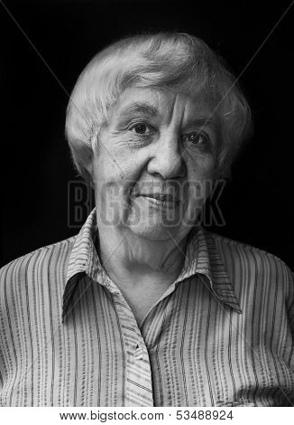 Black and white portrait of an old woman. Real people series.