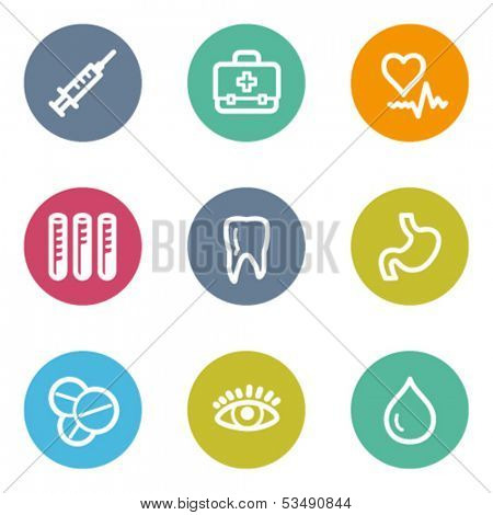 Medicine web icons set 1, color circle buttons