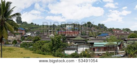 Panoramic view on roof huts