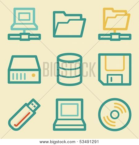 Drive storage web icons, retro colors