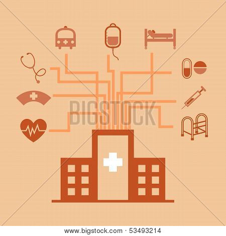 Hospital Concept Idea In Flat Style