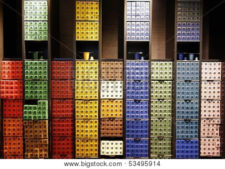 Variety of coffee capsules in Nespresso store in Paris