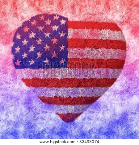 American Flag - Fluffy Heart