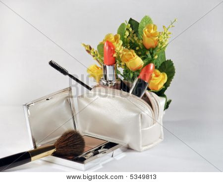 Cosmetic Set And Roses