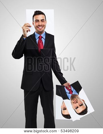 Businessman changing his face