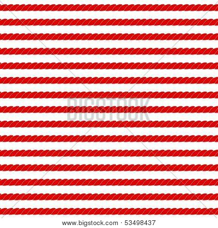 Navy rope stripes in red and white seamless pattern, vector