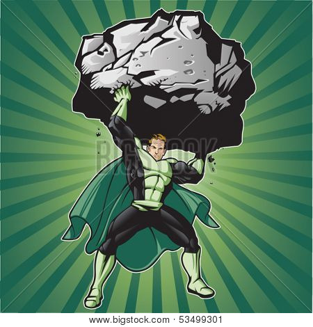 Generic superhero figure lifting a large boulder.  Layered & easy to edit. See portfolio for simular images.
