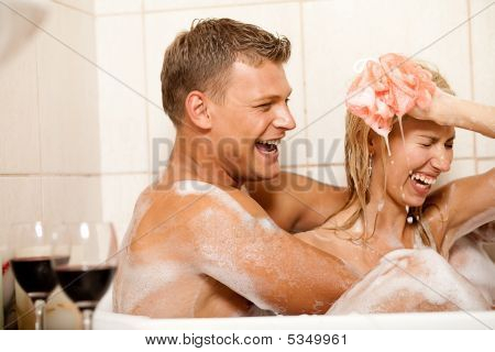 Young Couple Bathing