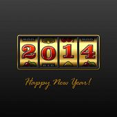 Happy New Year 2014 card. Vector.