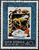 Stamp printed in DPR Korea dedicated to the conqueror of the sea shows Jacques Cousteau