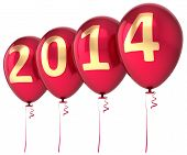 stock photo of helium  - 2014 New Year balloons party decoration - JPG