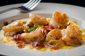 image of shrimp  - Shrimp and grits with Bacon in a white bowl - JPG