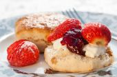 image of devonshire  - Plate of strawberry scones with clotted cream and jam - JPG