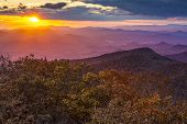 stock photo of ravines  - Blue Ridge Mountains at sunset in north Georgia - JPG