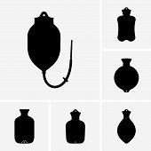 pic of hot-water-bag  - Set of six hot water bottle icons - JPG