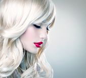foto of barbershop  - Beauty Blonde Woman Portrait - JPG