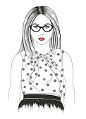 stock photo of grils  - Young girl fashion illustration - JPG