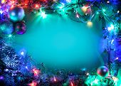 stock photo of fairy  - Christmas frame with fir - JPG