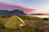 stock photo of lofoten  - camping in Lofoten island - JPG