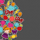 stock photo of kawaii  - Abstract background with cute kawaii doodles - JPG