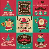 Vintage Christmas symbols, icons and hipster elements vector collection