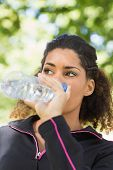 Close up of a tired healthy young woman drinking water in the park