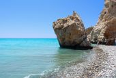 stock photo of greek-island  - Rock of Aphrodite or Petra tou Ramiou in Cyprus Europe - JPG