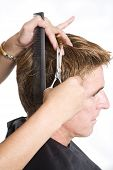 stock photo of hair cutting  - hair dresser cutting a man - JPG