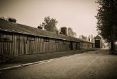 stock photo of auschwitz  - Wooden barracks for guard in former Nazi concentration camp Auschwitz I - JPG