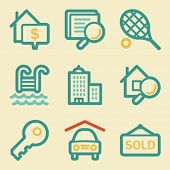 Real estate web icons, retro colors