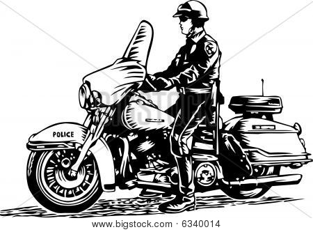 Motorcycle patrol Policeman illustration
