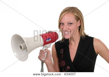 Smiling Business Woman With Megaphone 1