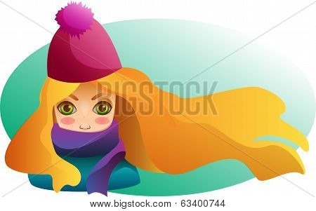 Portrait of Beutiful girl with streaming hair in winter hat and scarf with blushed cheeks