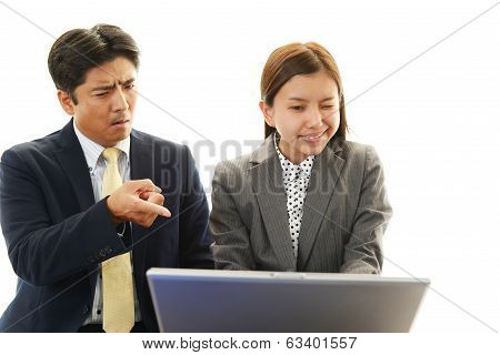 Dissatisfied businessman and businesswomen