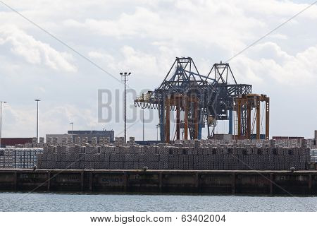 containers with cargo in port