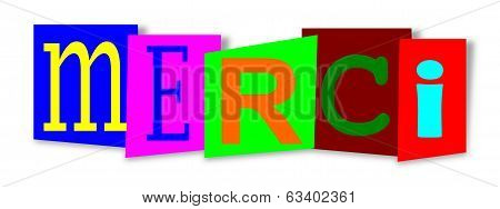 Colourful Inscription On Colored Substrates Thank You - Merci