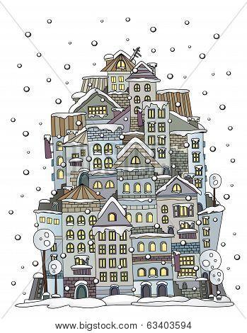 cartoon winter construction town