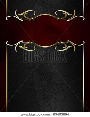 Black Name Plate With Gold Ornate Edges, On Red Background