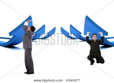 Business Men Pushing Arrows