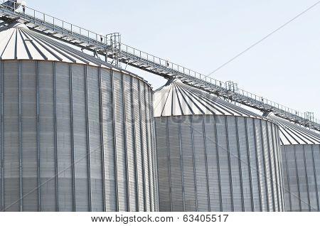 Wheat silos in a row