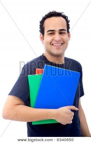 Student With Folders And Notebooks