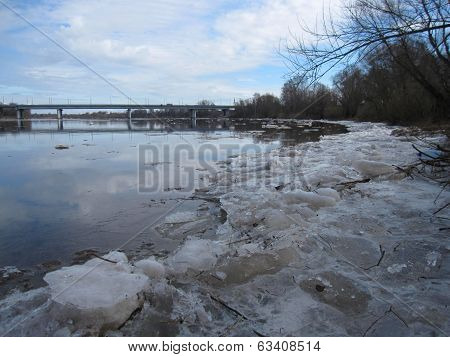 Russia, spring on Msta river