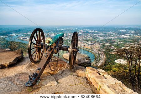 Civil war era cannon overlooking Chattanooga, Tennessee