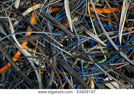 Pile of discarded cables