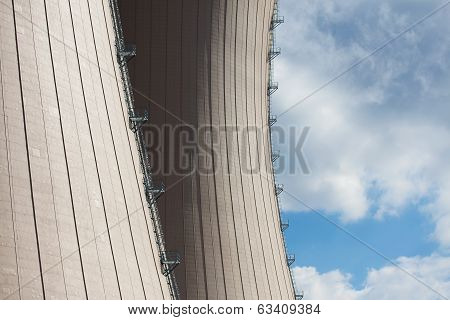 Cooling Towesr Of  Nuclear Power Plant Against Sky And Clouds